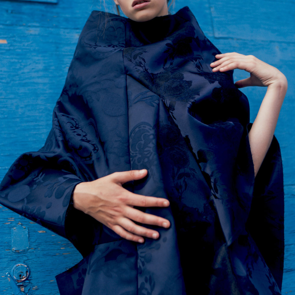 COMME DES GARCONS DRESS BLUE SATIN FLORAL SONIA CHEDLI FASHION STYLIST OTHELLO GREY CONTRIBUTOR MAGAZINE WOMENSWEAR AVANT GARDE ABSTRACT ART
